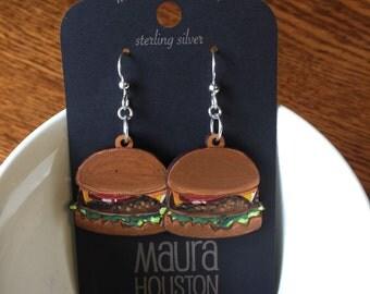 Hand painted cheeseburger earrings