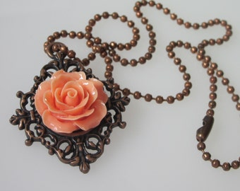 Rose Pendant Necklace, Peach Rose, Antiqued Copper Filigree Pendant, Orange Wedding Jewelry, Bridesmaid Gift