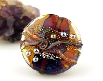 Lampwork Glass Bead, Lentil Focal, Blue, Purple, Gold, Silver 'Dreamy'
