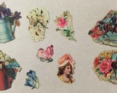 Victorian scrap pieces wmbellishments die cuts watering cans flowers General Grant General Hancock 9 pieces