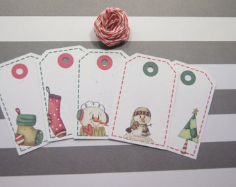 Christmas Gift Tags Holiday Snowman Stocking Trees Candycane Mittens Star Favor Tags Set of 10 - T550