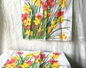 Vintage Mod Vera Napkins 1960s 1970s Daffodils Ladybug SALE