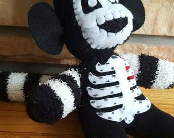 Halloween - Skeleton Sock Monkey - Black and White Striped - Goth - Creepy Cute - Stuffed Animal
