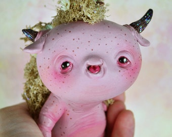 EXTRA SALE! - Rilo - art doll ooak pure sculpt kodama fantasy creature pet imaginary friend magical fairy tales protective spirit nature