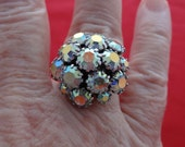 SARAH COVENTRY Vintage silver tone aurora borealis rhinestone cluster cocktail ring in unworn condition, sizes 6 & 7 available
