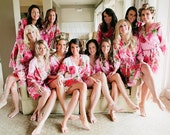 Pink Fuchsia Large Floral Blossom Bridesmaids robes | Kimono Robes, Spa, Perfect bridesmaids gift, getting ready robes, Bridal shower party