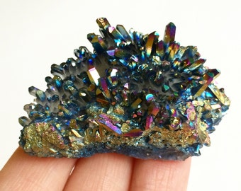 Titanium Quartz Crystal Cluster, Flame Quartz, Rainbow Quartz, Aura Crystal, Metaphysical Reiki New Age Gemstone, Mineral