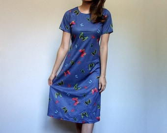 Vintage 90s Blue Dress Novelty Butterfly Print Short Sleeve Sundress Women - Small S