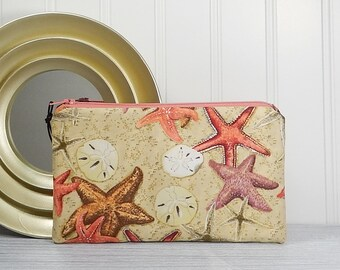 Flat pouch, phone case, makeup bag, small cosmetics bag, card cash wallet, coupon envelope, star fish coin purse