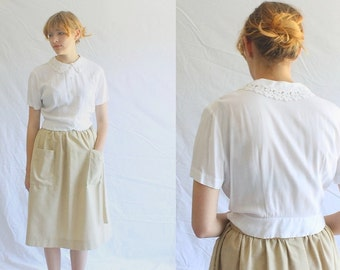 60s vintage white lace blouse small