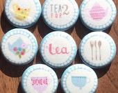 Tea Party Fabric Magnet Set of 8