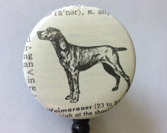Weimaraner Vintage Dictionary Badge Holder