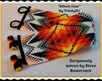 BP-ET-004a-2015-82 - Ethnic Four - Loom, Beadwork PATTERN, Loom Bracelet Pattern, Bead Loom Pattern, Seed Bead Loom Pattern, beadweaving
