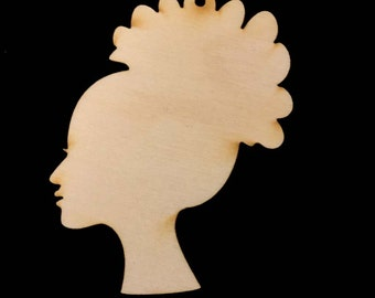 Lady HEAD with TopKnot shape Natural Craft Wood Cutout 1820