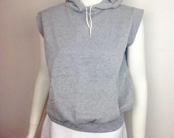 VTG 80s Hoodie Hooded Tank Sweatshirt Top Gray Sweats