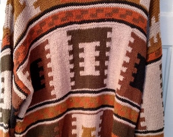 FLASH SALE AZTEC Tetris Jumper sweater jigsaw Cosby boho grunge men Xl