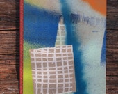 Hand made abstract spray painted journal, grid lined