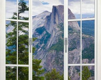 Wall mural french door, self adhesive, view of Half Dome, Yosemite, CA- 48x72- free US shipping