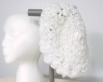 Vintage Hat Crocheted Hat Shiny White Raffia Hat Pill Box