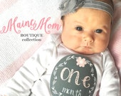 GIFT, Baby Girl Month Stickers, Monthly Baby Girl Stickers, Milestone Bodysuit Stickers, Gray, Grey, Pink, Flower, Just Born Newborn, Arrow