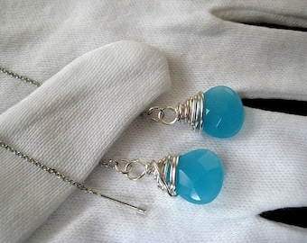 Created Chalcedony Wire Wrapped Tear Drop Briolette Earring Threads