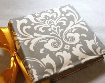 Recipe Organizer-Gray and  White Damask Recipe Album with Your choice of  Trim and Recipe cards