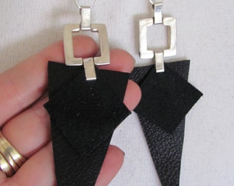 Beautiful Unique Suede Leather Silver Earrings (C07)
