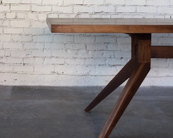 Solid Walnut Dining Table with Angled Legs