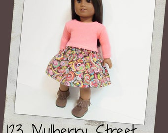 Reserved for Jackie- American Girl - Coral Shirt and Brown Paisley Corduroy  Skirt, fit doll like American Girl, Maplelea