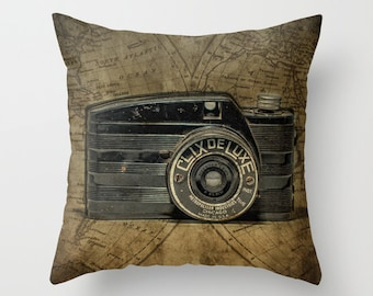 Vintage Clix  Deluxe Camera 16 x 16 Pillow Cover