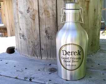 Custom Stainless Steel Growler, 64 oz - Personalized Growler, Beer Growler, Refillable Beer Jug - Home brewing gift, Gift for Beer Geek
