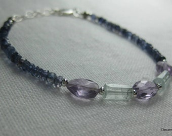 Iolite Bracelet with Aquamarine and Amethyst in Sterling Silver