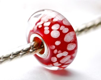 Ruby and white speckled large hole bracelet bead by paulbead, european style bead for charm bracelets, euro fit big hole bead with core