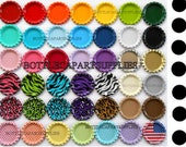 "WITH HOLES 25 Colored 1"" Double Sided Linerless  Mix Flat  Bottle Caps  You Choose Colors  Flattened New Caps"