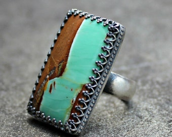 Variscite Silver Ring - Brown and Teal Stone Ring -  Rectangle Variscite Cabochon Ring - Heavy Band Silver Ring -  Statement Ring - US 8.5