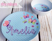 Personalized Plate |  Easter Basket Gift | Kids Butterfly Melamine Dinner Plate and Bowl Set | Kids Gift | Birthday Gift