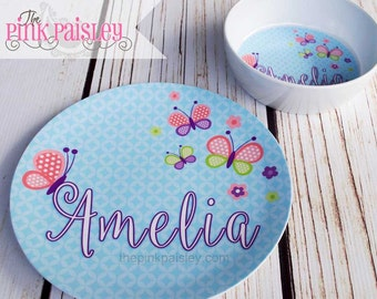 Personalized Plate    Easter Basket Gift   Kids Butterfly Melamine Dinner Plate and Bowl Set   Kids Gift   Birthday Gift