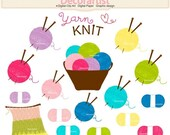 ON SALE Knitting clip art , yarn clip art, Knitting basket with wool balls clip art, Crochet And Knitting Clipart, INSTANT Download