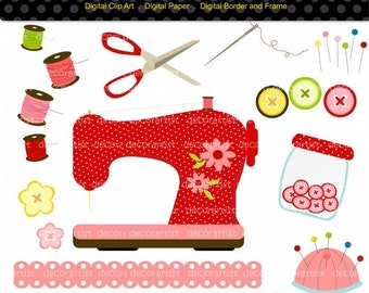 ON SALE Sewing clipart, sewing machine clipart,craft clipart, instant download, digital clipart, scrapbooking, button
