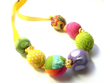 Fabric Necklace - Handmade beads - Green, yellow, orange, purple and pink