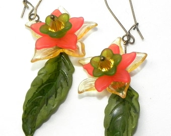 Yellow, green and coral lucite Flower earrings - Hand painted leaves