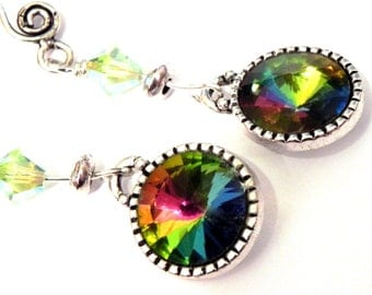 Rainbow Swarovski Crystal Earrings - Rivoli Vitrail Medium  - Round silver bezels