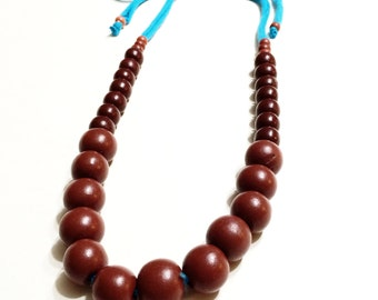 Necklace- Teal Blue With Dark Brown Beads Necklace