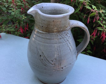 Pottery Ceramic Redware Jug Pitcher signed fh