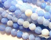 6mm Round Blue Crackled agate beads  gemstone beads full strand matt frosted finish jewelry supply 6mm-2