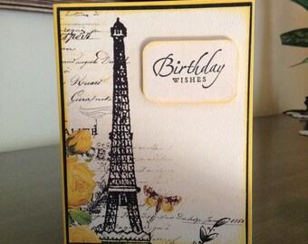 Paris, France Birthday Wishes, French Themed Birthday Card, Eiffel Tower Happy Birthday, Ladies Feminine Birthday Wishes, France Birthday
