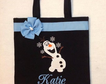 Personalized Tote Bag, Personalized Tote, Snowman Tote Bag, Olaf Tote, Olaf Gift, Personalized Frozen Inspired, Let it go