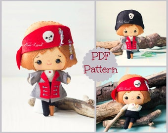 The pirate. PDF pattern. Felt doll.
