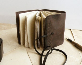 leather journal, notebook - small journal with vintage style paper - brown leather journal - Brown Pocket Diary