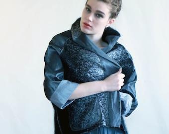 Women jacket, prom,dark grey jacket, original silver & black jacket, new look style jacket, prom, casual